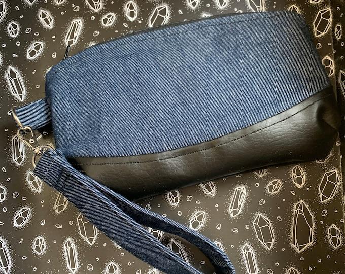 Versatile Wristlet Bag   Denim and Vegan Leather   Skulls and Ravens Lining   Interior Pocket