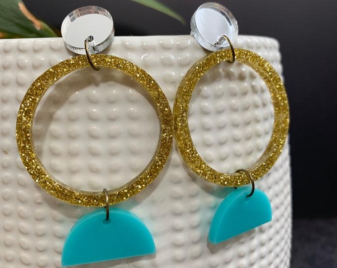 Geometric Acrylic Statement Earrings / Silver and Gold Earrings/ Drop Earrings / Handmade / Lightweight / Nickel Free