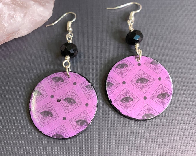 "Mixed Media Purple 'All Seeing Eye"" Earrings   Handmade   Lightweight   One Of A Kind   Halloween"