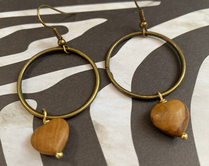 Antique Gold Hoop with Wood Jasper Heart Bead Earrings / Lightweight
