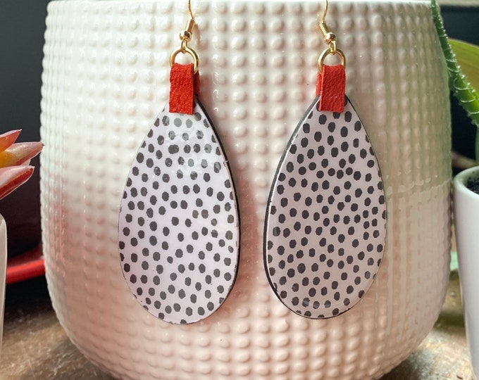 Large teardrop Mixed Media Statement earrings | Lightweight | Handmade | One-of-a-kind | Stylish