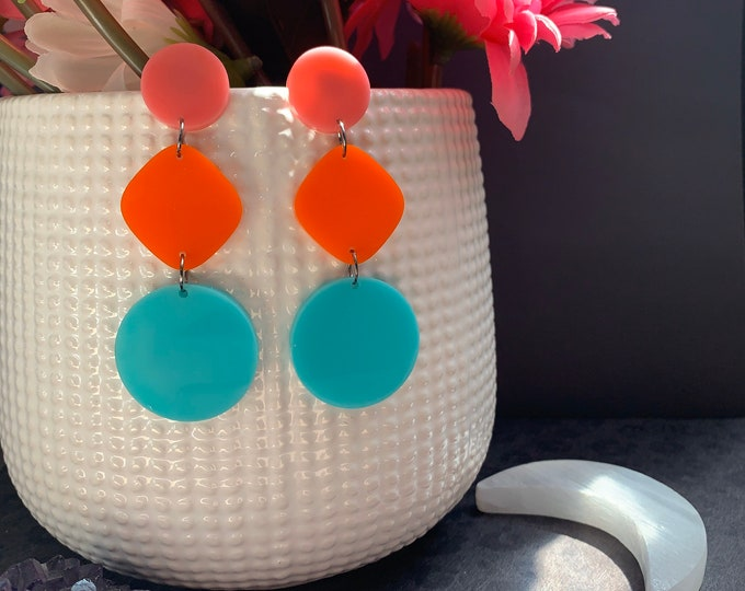 9 Color Ways! Laser Cut Statement Earrings / Bright Stars Collection style Atria / Lightweight / Handmade / Unique