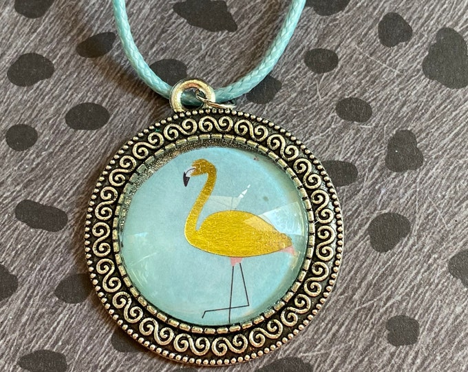 Gold Flamingo Glass Necklace Pendant