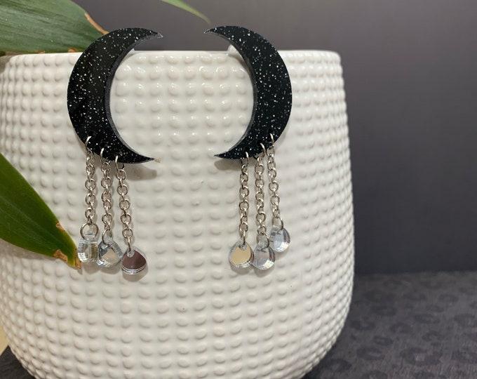 Moon Shape Acrylic Statement Earrings / Geometric Earrings/ Long Earrings/ Drop Earrings / Handmade / Lightweight / Nickel Free