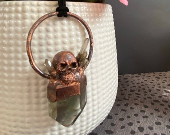 Copper  Pendant with Quartz and Skull / Handmade / One of A Kind / Unique / Statement Jewelry