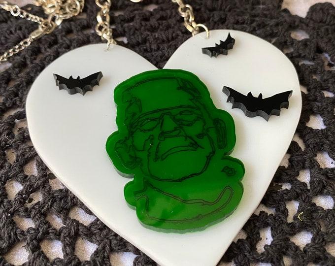 Fun Heart Frankenstein Monster Laser Cut Statement Necklace / Spooky Season / Halloween / Lightweight / One Of A Kind