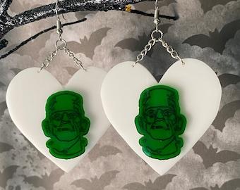 I Heart Frankenstein Laser Cut Statement Earrings / Spooky Season / Halloween / Lightweight
