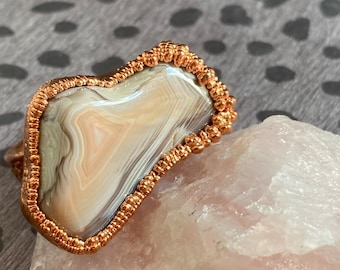 Large Statement Ring with Cool Copper Growths / Crazy Lace Agate / Ring Size 9