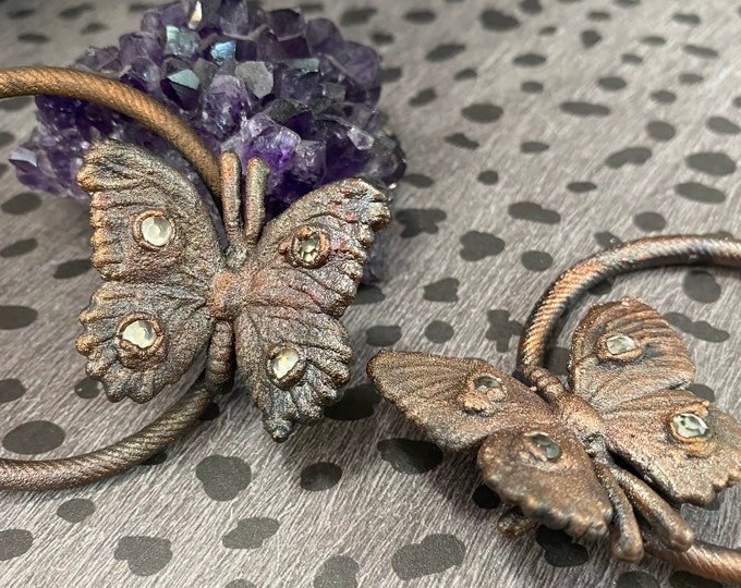 Copper Butterfly Hoop Earrings / Unique / One Of A Kind / Handmade