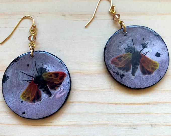 Moth Earrings   Halloween Jewelry   Spooky Earrings   Goth Look   Mixed Media Statement Earrings   Witchy Wear