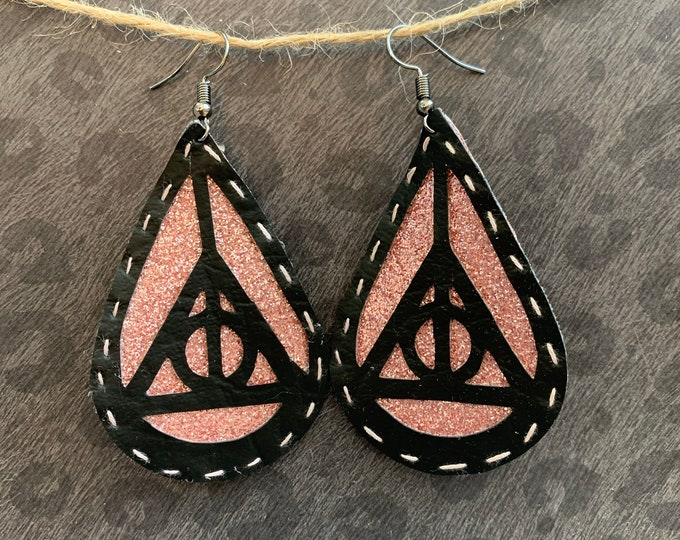 Deathly Hallows Earrings / Vegan Leather / Handmade / Hand stitched