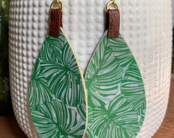 Botanical Leaf Statement Earrings | Gift for her | Trendy | Stylish | Lightweight |  Mixed Media