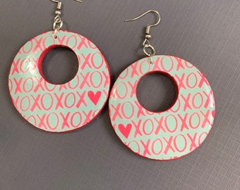 Large Mixed Media XOXO Earrings / Perfect For Valentines / Lightweight / One Of A Kind