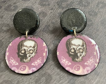 Mixed Media Purple Skull Dangle Earrings