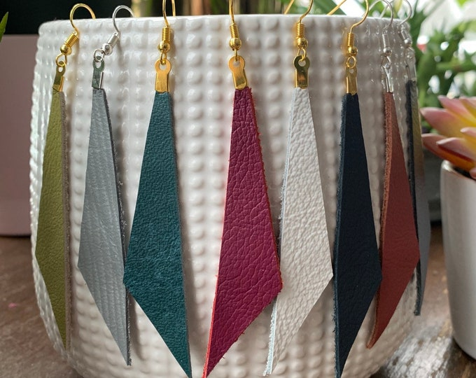 Asymmetrical Long Triangle Leather Statement Earrings | Available in 16 Colors! | Lightweight | Simple | Modern