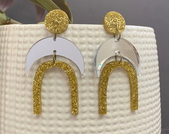Moon Shape Acrylic Statement Earrings / Geometric Earrings/ Gold Earrings/ Drop Earrings / Handmade / Lightweight / Nickel Free