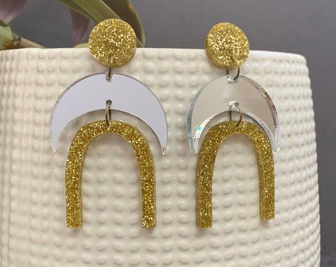 Moon Shape Acrylic Statement Earrings / Geometric Earrings/ Gold Earrings/ Drop Earrings / Handmade / Lightweight / Nickel Free