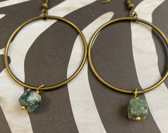 Handmade Hoop Earrings with Moss Agate Square Bead / One of A Kind / Lightweight