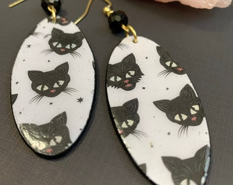 Black Cat Mixed Media Statement Earrings | Spooky Jewelry | Lightweight | Perfect For Halloween
