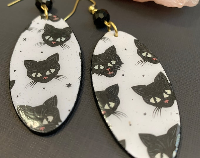 Black Cat Mixed Media Statement Earrings   Spooky Jewelry   Lightweight   Perfect For Halloween