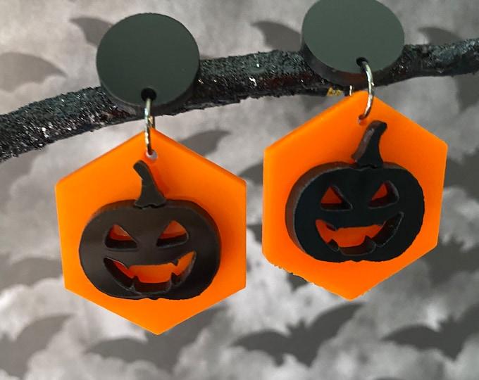 Jack O Lantern Laser Cut Statement Earrings / Spooky Season / Halloween / Lightweight / Hexagon Shape