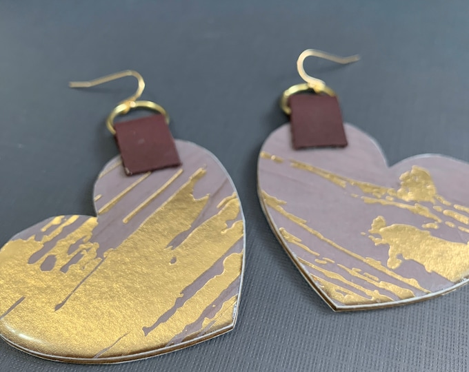 Large Mixed Media Heart Shaped Earrings / Perfect for Valentines / One of A Kind / Leather Earrings