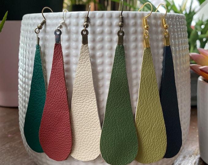 Elongated Teardrop Leather Statement Earrings | Trendy | Great Gift Idea | Lightweight | Simple Design | Modern