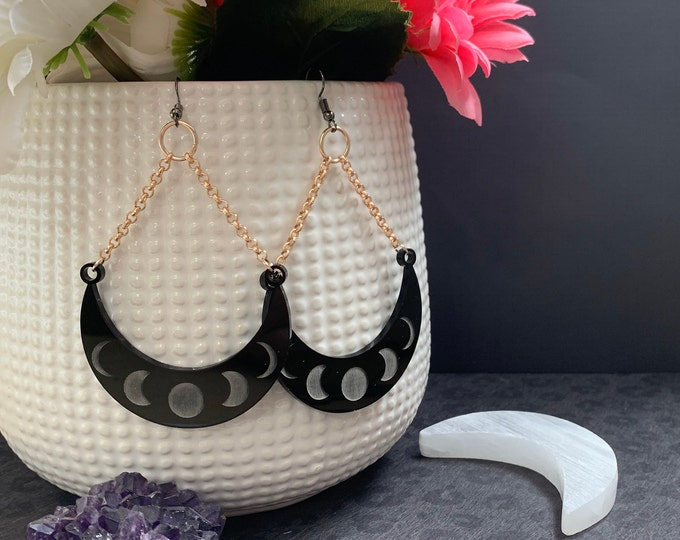 4 Color Ways! Laser Cut Statement Earrings / Bright Stars Collection style Vega / Lightweight / Unique / Celestial / Moon Phases