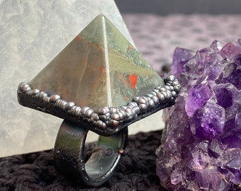 """Large Statement Pyramid Ring / Bloodstone and Copper / Ring Size 5 1/2"""" / Wide Band"""