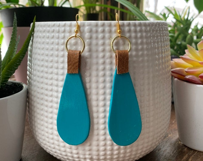 Turquoise Hand Painted Wood and Leather Teardrop Shaped Statement Earrings   Lightweight   Fashionable   Bright Colors