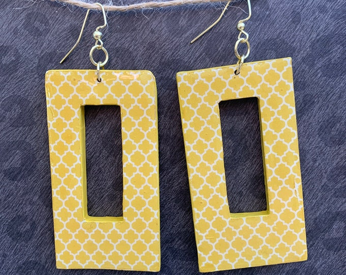 Mixed Media Statement Earrings / Large Rectangle / Yellow / Handmade