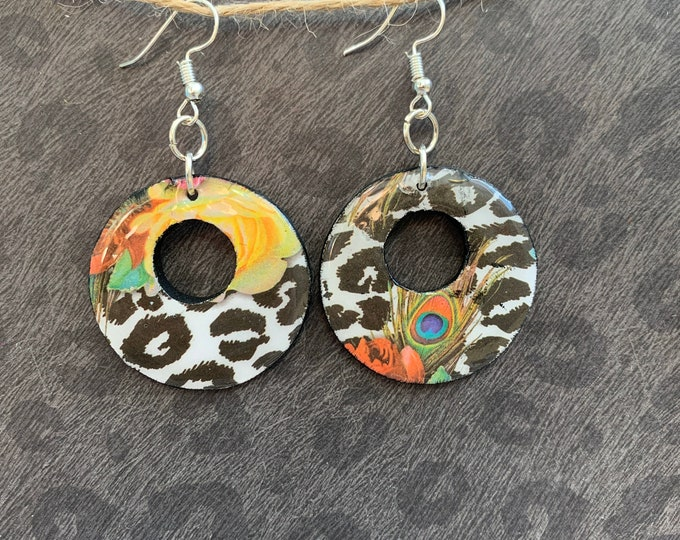 Handmade / Mixed Media Earrings / Lightweight / Trendy / Animal Print / Feathers / Flowers