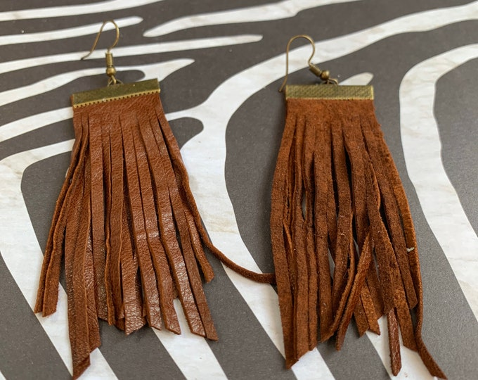 Super Soft Leather Fringe Earrings | Handmade | Lightweight | Boho Chic