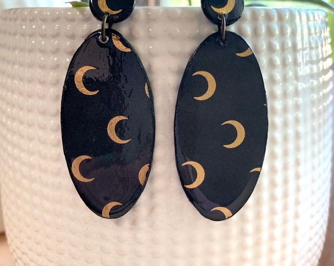 Wood Crescent Moon Earrings   Spooky Jewelry   Witchy Wear   Goth Girl   Statement Earrings   Prefect For Halloween