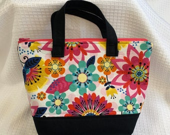 Tote bag with handles and 2 removable pockets / great for essential oils and cosmetics / gift for her