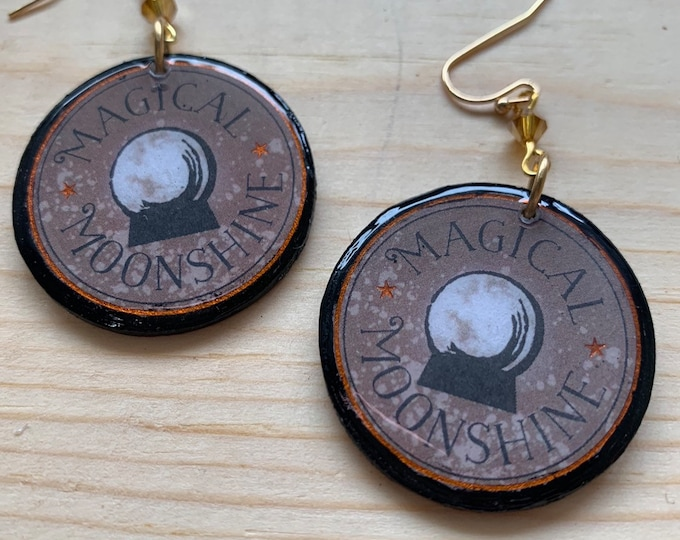 Handmade Magical Moonshine Statement Earrings   Perfect For Halloween   Witchy   Goth   Lightweight