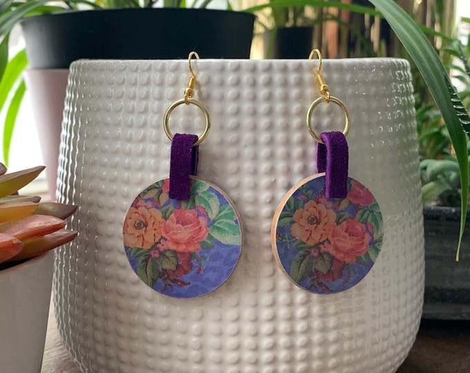 Mixed Media Floral Statement Earrings   Gift for Her   Lightweight   Trendy   Stylish