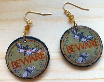 BEWARE Moth earrings | Handmade Mixed Media Statement Earrings | Perfect For Halloween | Spooky Earrings / Witch Aesthetic