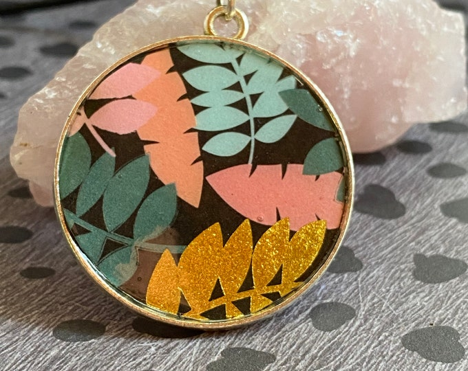 Pink, Teal, and Gold Leaves Resin Pendant