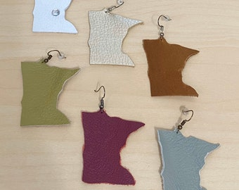Minnesota Shape Leather Earrings | Available in 7 Colors! Great Gift Idea | Hand-cut |  Lightweight