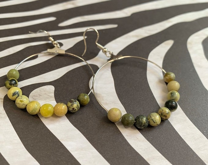 Yellow Turquoise Jasper Beaded Hoop Earrings