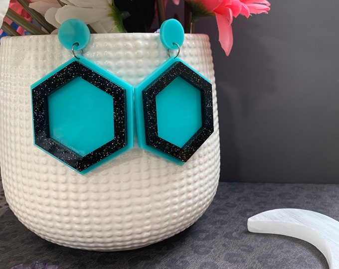 7 Color Ways! Laser Cut Statement Earrings / Bright Stars Collection style Sadir / Unique Geometric Earrings