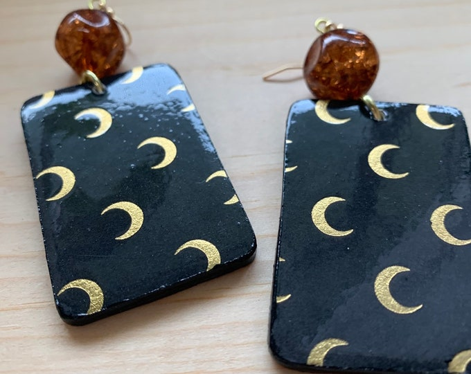 Crescent Moon Earrings   Handmade   Lightweight   Goth and Witch Aesthetic   Perfect For Halloween