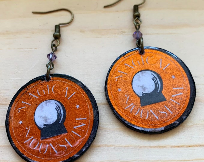 Magical Moonshine Earrings   Spooky Jewelry   Perfect For Halloween   Witchy Wear   Statement Earrings   Goth Aesthetic