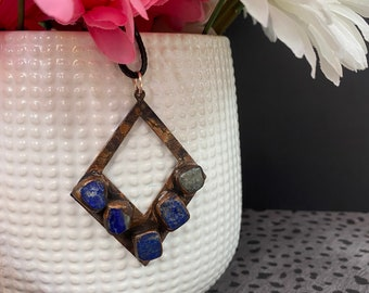 Copper and Sodalite Geometric Pendant / Handmade / One Of A Kind / Great Gift Idea