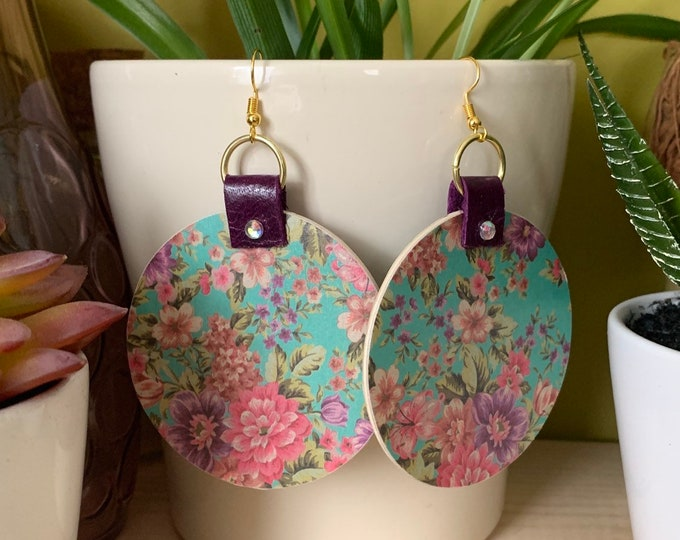 Large Wood, Paper and Leather Statement Earrings | Stylish | Lightweight | Handmade | One-of-a-kind
