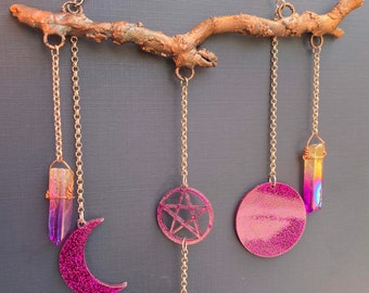 Copper Wall Hanging with Aura Quartz and Laser Cut Acrylic Moons