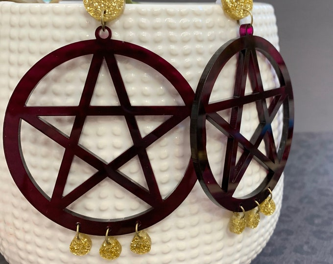 Extra Large Pentacle Acrylic Statement Earrings / Geometric Earrings/ Drop Earrings / Handmade / Lightweight / Nickel Free
