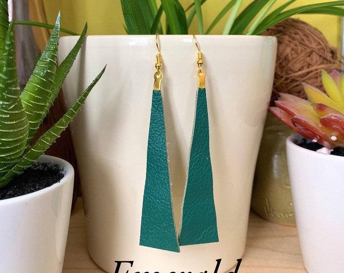 Long Triangle Leather Statement Earrings | Available in 12 Colors | Great Gift Item | Simple Design | Urban Look / Lightweight