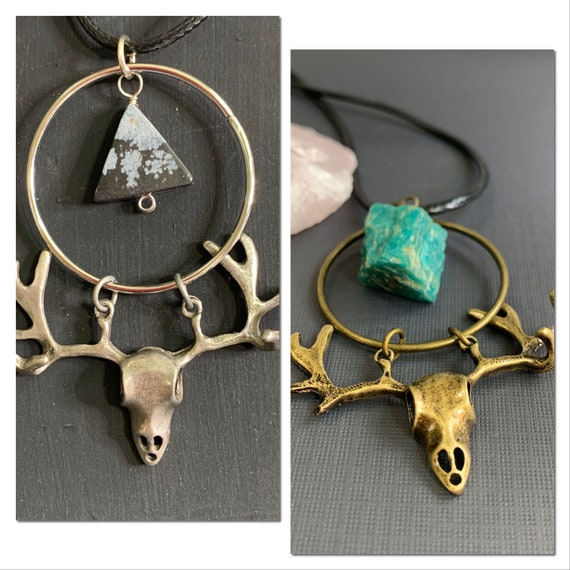 Stag Head Skull Necklace with Natural Stones | Spiritual Jewelry | Witch Vibe | Boho